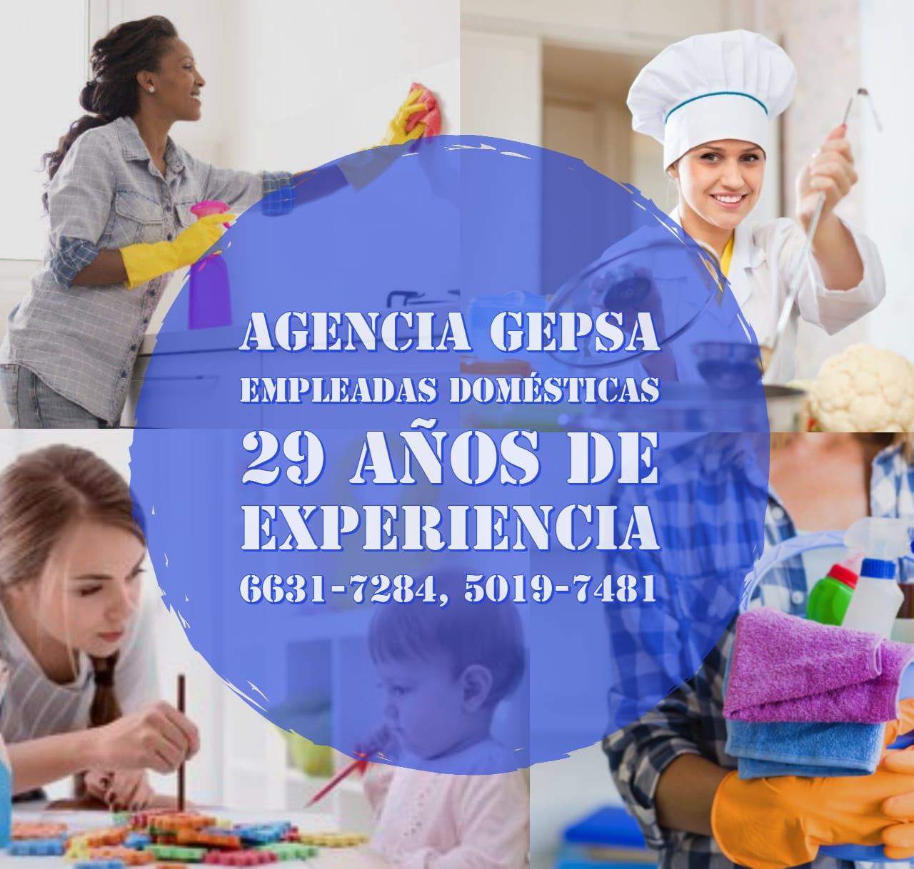 ¿Buscando Personal Doméstico? Agencia GEPSA 29 años de experiencia