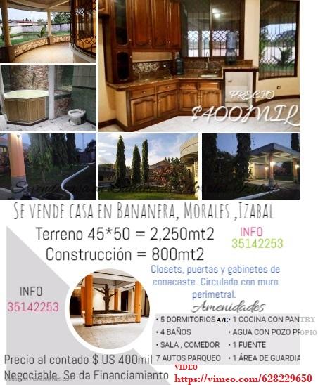 Se vende casa en Bananera, Morales ,Izabal