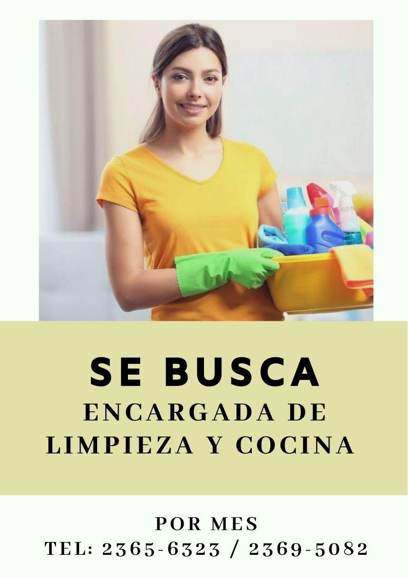 Encargada de limpieza y Cocina (POR MES)