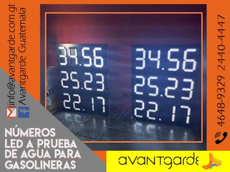 Numeradores LED digitales a control remoto y a prueba de agua para Gasolineras Guatemala.