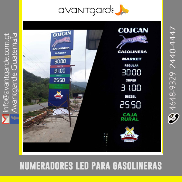 Numeradores LED digitales para Gasolineras Guatemala a control remoto y a prueba de agua.