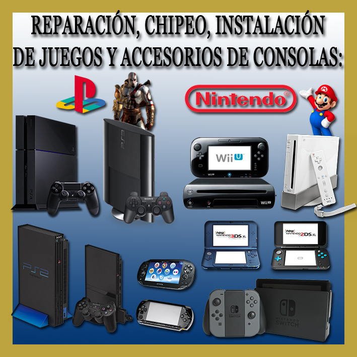 CHIPEO E INSTALACIÓN DE JUEGOS NSWITCH, PS4, PS3, PS2, PSP, PS VITA, WII, 3DS, WII U