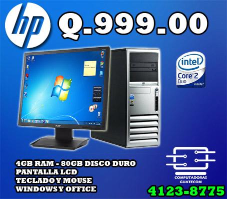 COMPUTADORA MARCA HP * CORE 2 DUO BARATA Q999 OFERTA