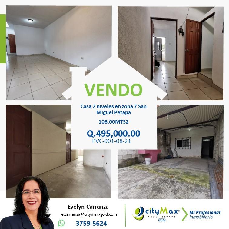 Casa de 2 niveles en Venta en zona 7 San Miguel Petapa