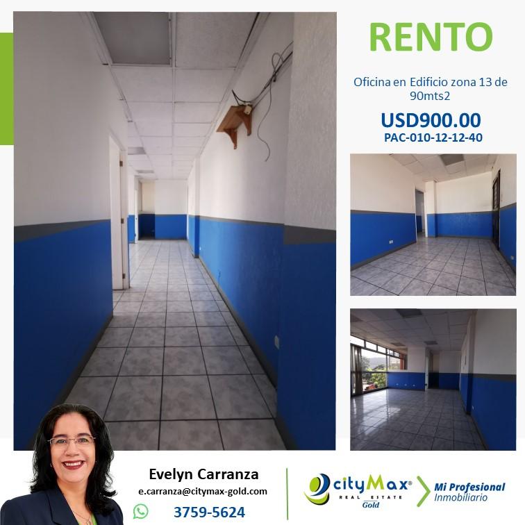 Oficina en renta zona 13