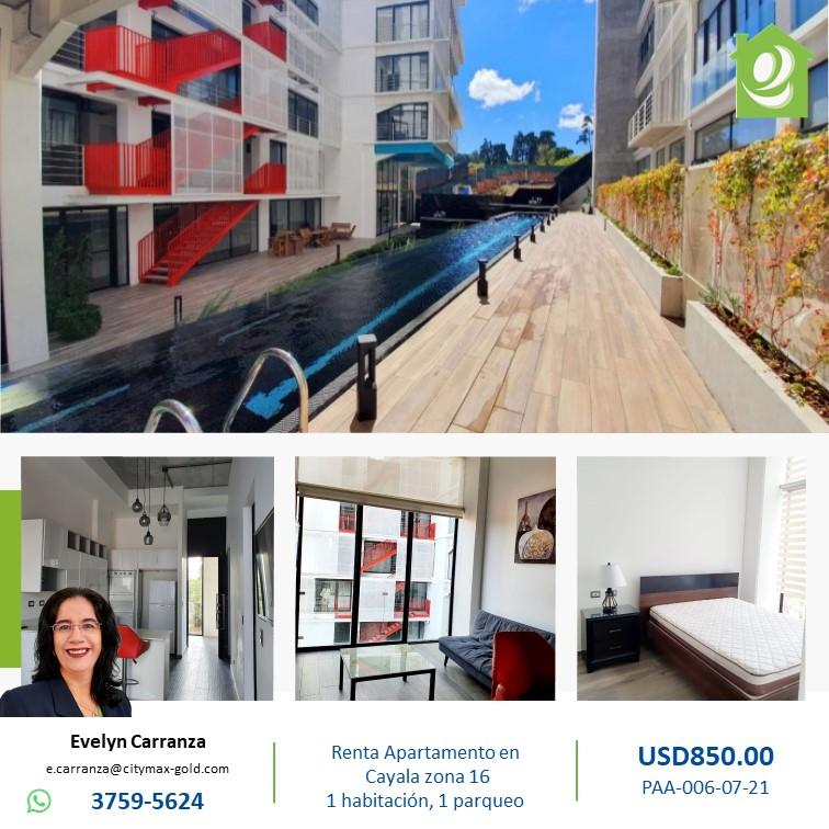Apartamento en Renta zona 16 Cayala