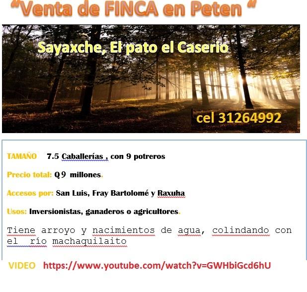 VENTA DE FINCA EN PETEN  SAYAXCHE, POR EL PATO CASERIO