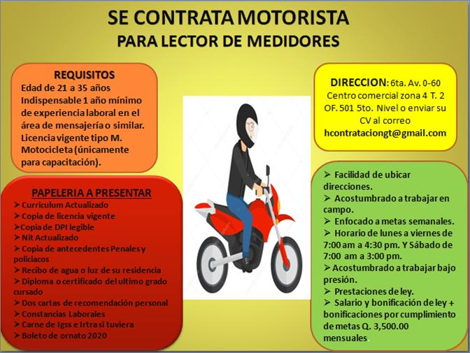 MOTORISTA LECTOR DE MEDIDORES