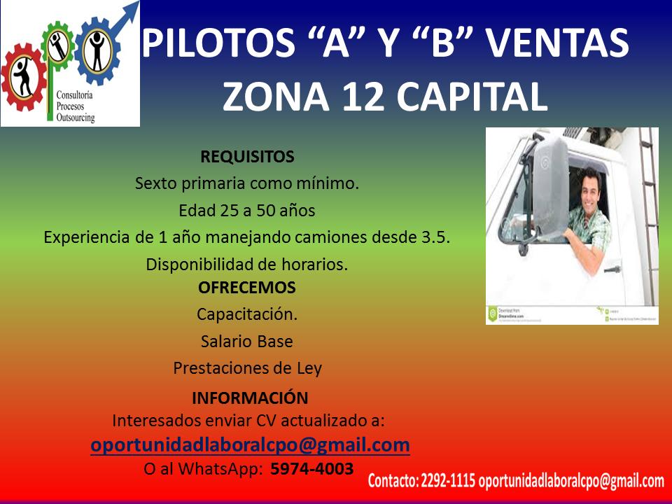 Pilotos Vendedores para zona 12 Capital
