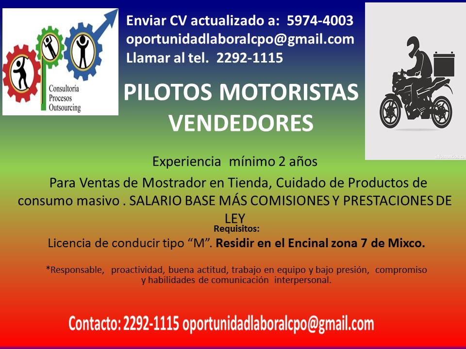 PILOTOS VENDEDORES MOTORISTAS