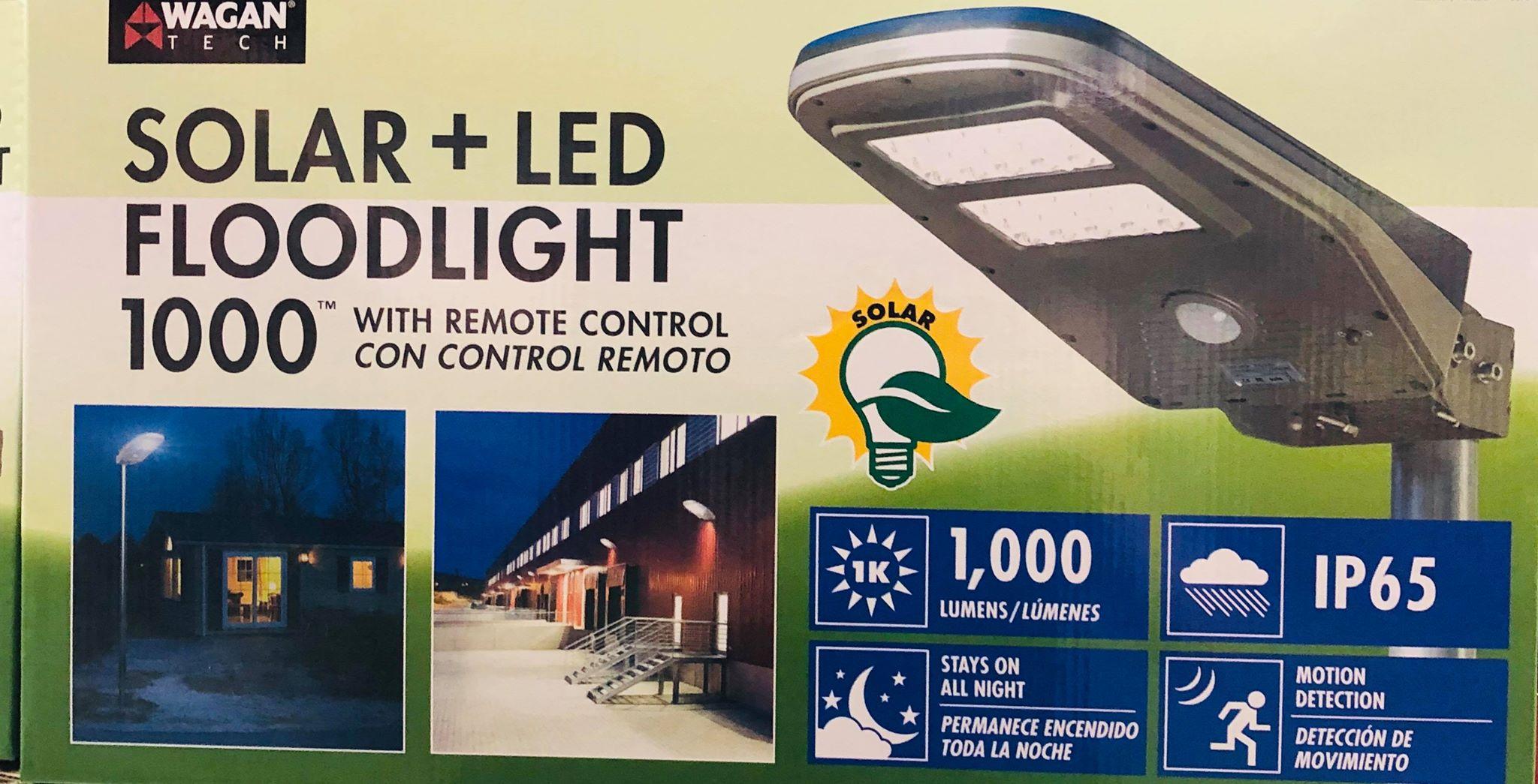 Wagan Luz de calle solar de LED de 1,000 lúmenes área detectada por movimiento