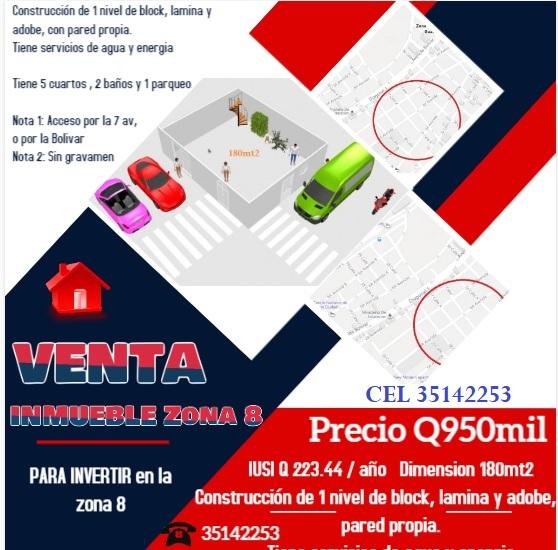 VENTA DE INMUEBLE para inversionesitas EN ZONA 8 de la ciudad capital